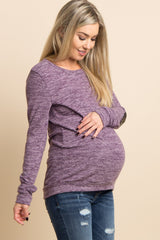 Violet Heathered Sequin Elbow Patch Maternity Sweater