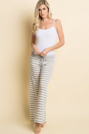 Heather Grey Striped Drawstring Pajama Pants