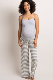 Heather Grey Striped Drawstring Maternity Pajama Pants