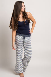Blue Striped Drawstring Pajama Pants
