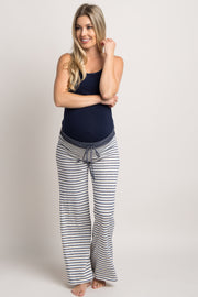 Blue Striped Drawstring Maternity Pajama Pants
