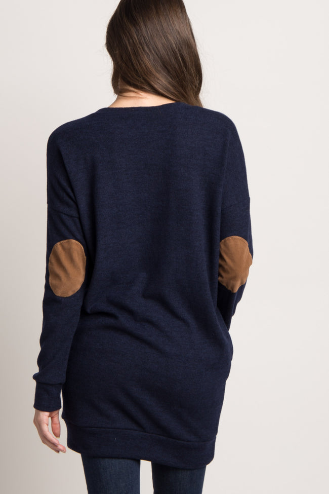 Navy Blue Suede Accent Maternity Tunic