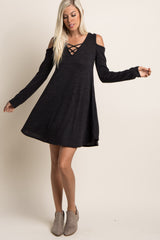 Black Crisscross Front Knit Dress