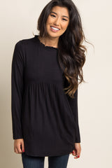 Black Ruffle Trim Peplum Top