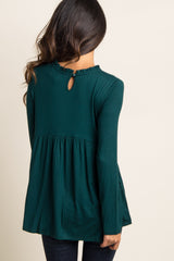 Forest Green Ruffle Trim Peplum Top