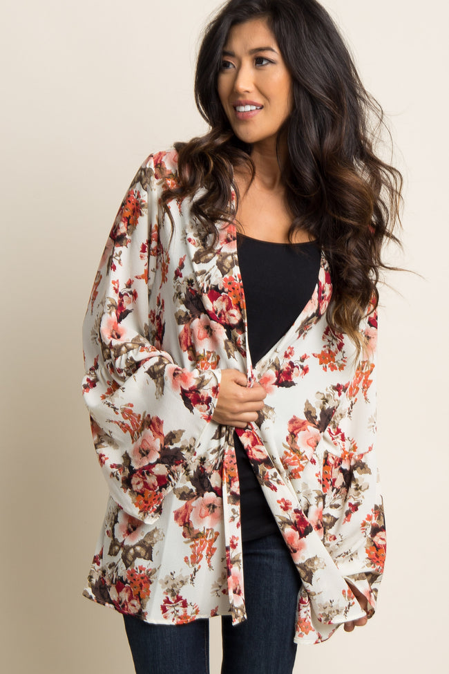 Beige Floral Bell Sleeve Chiffon Maternity Kimono