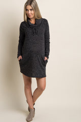 Charcoal Drawstring Cowl Neck Knit Maternity Dress