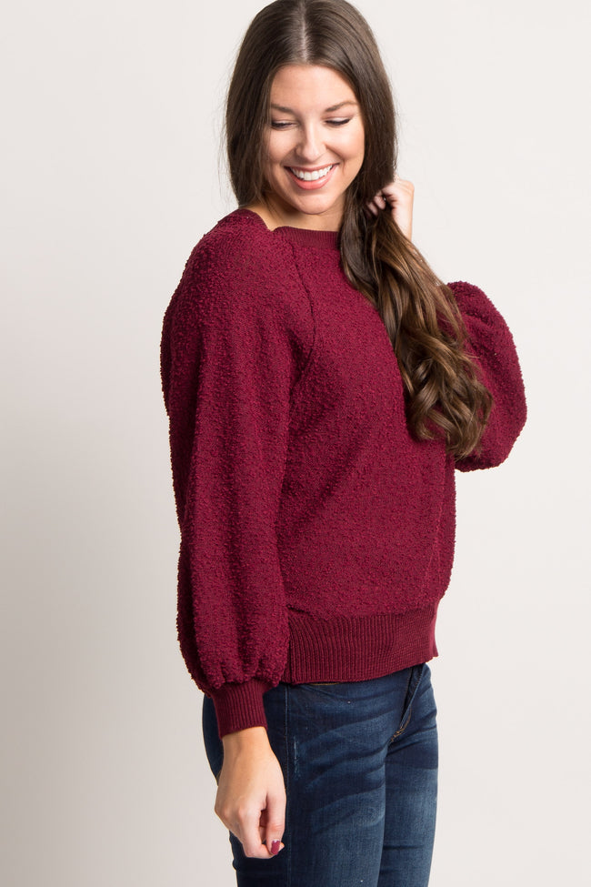 Burgundy Solid Popcorn Knit Sweater