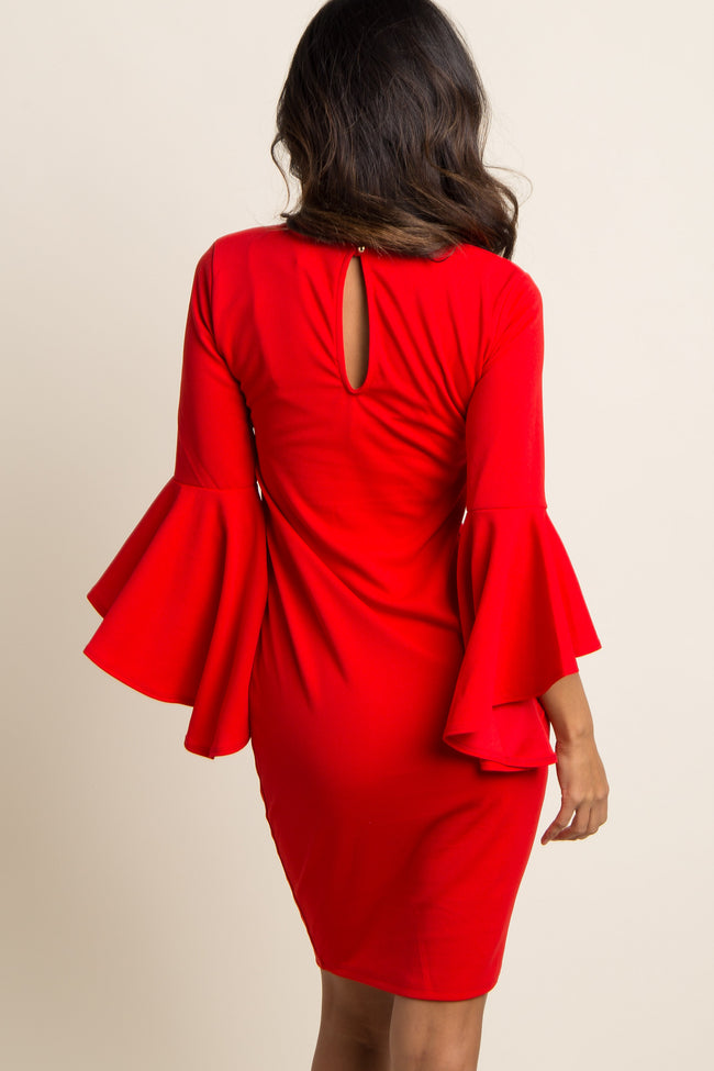 Red Slit Bell Sleeve Fitted Dress