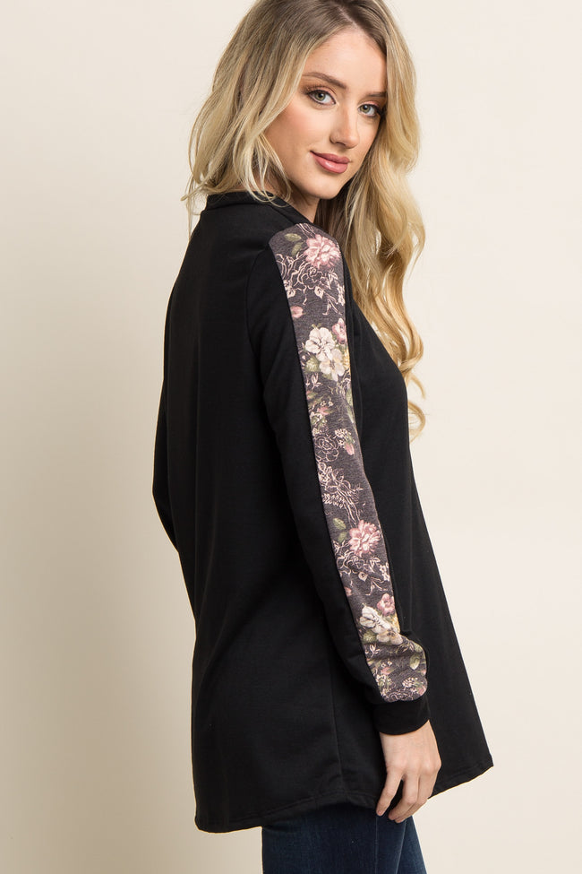 Black Floral Accent Sleeve Sweater