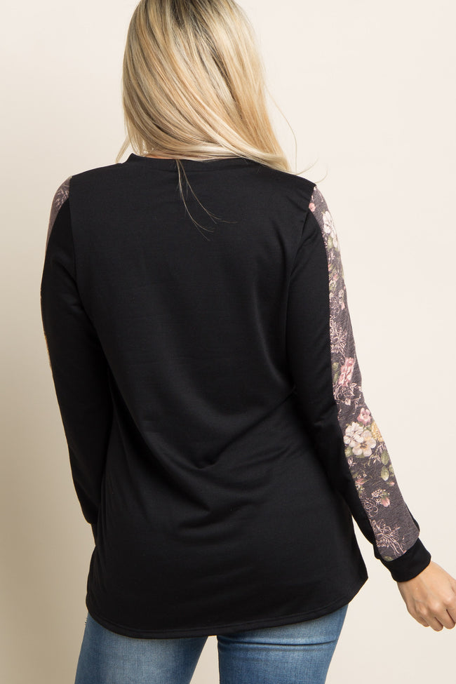 Black Floral Accent Sleeve Maternity Sweater