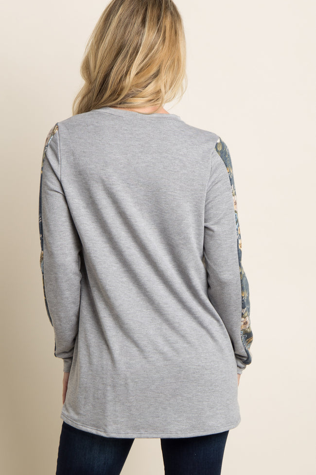 Heather Grey Floral Accent Sleeve Sweater