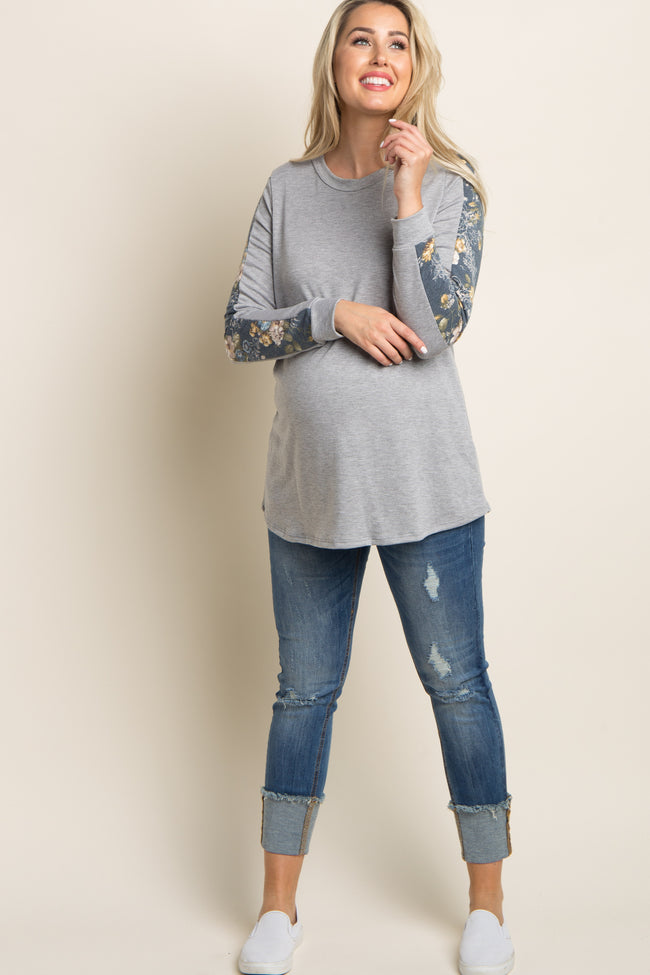 Heather Grey Floral Accent Sleeve Maternity Sweater