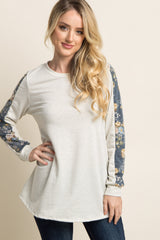 Beige Floral Accent Sleeve Maternity Sweater