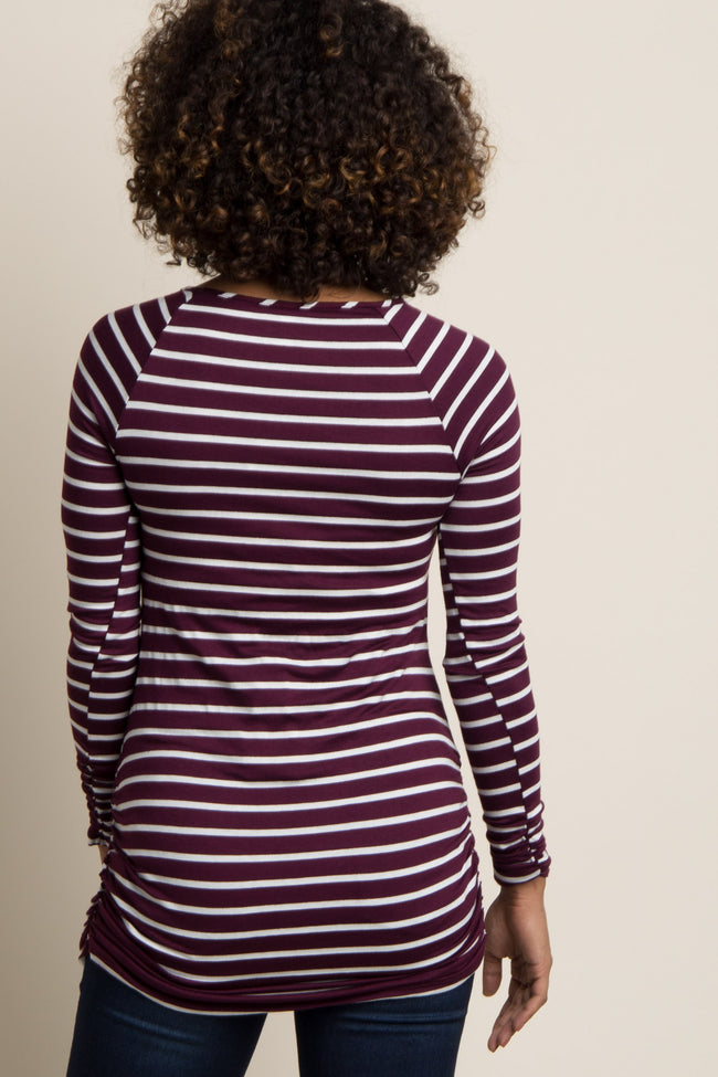 Burgundy Striped Long Sleeve Ruched Maternity Top