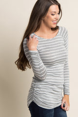 Grey Striped Long Sleeve Ruched Top
