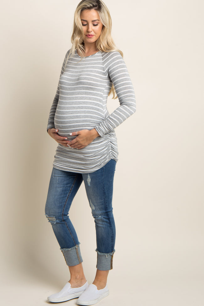 Grey Striped Long Sleeve Ruched Maternity Top