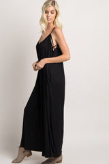 Black Ribbed Sleeveless Crisscross Jumpsuit