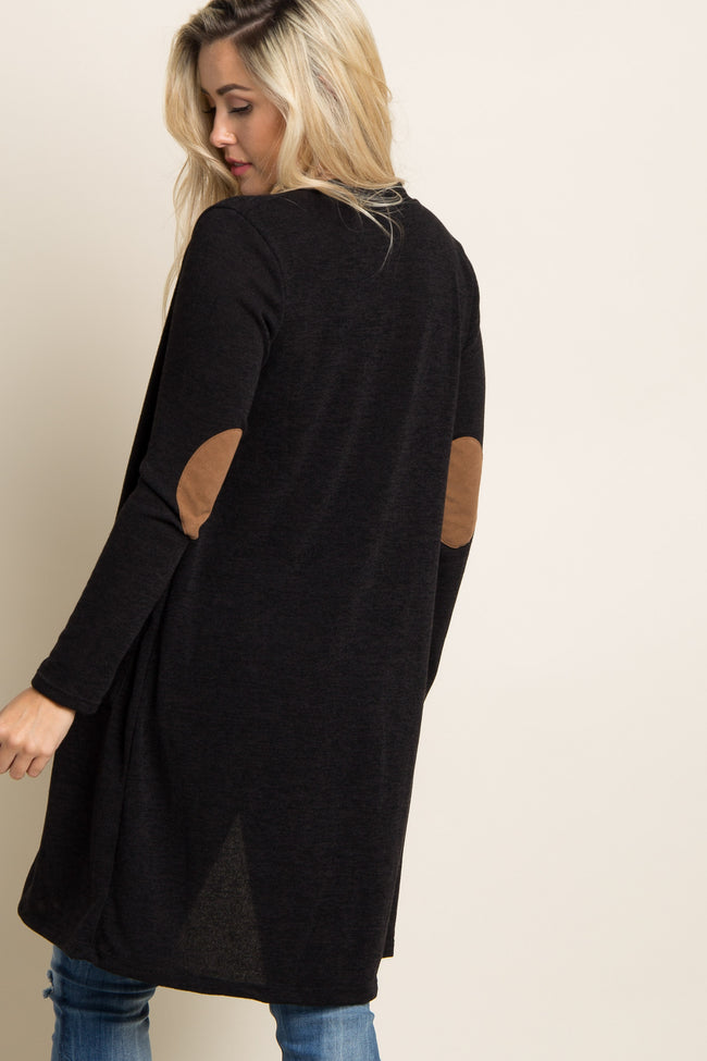 Black Suede Elbow Patch Long Maternity Cardigan