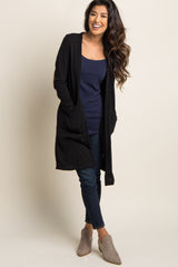 Black Suede Elbow Patch Long Cardigan