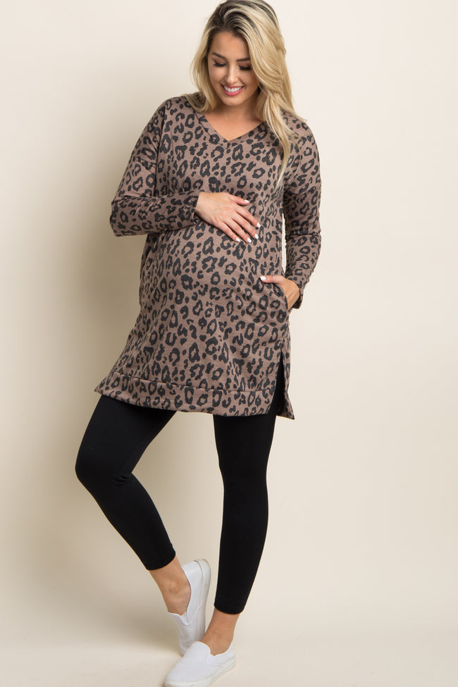 Brown Cheetah Print V-Neck Maternity Sweater