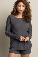 Charcoal Grey Ribbed Maternity Short Pajama Set