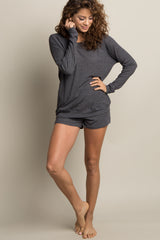 Charcoal Grey Ribbed Short Pajama Set