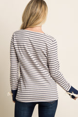 Navy Striped Sleeve Tie Accent Top
