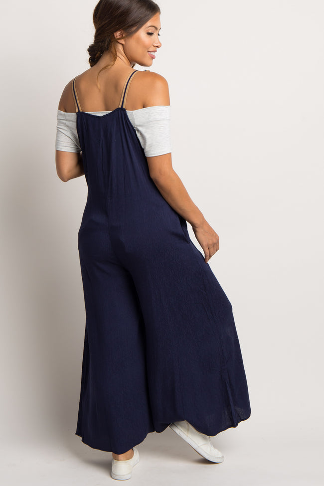 Navy Front Tie Wide Leg Maternity Overalls