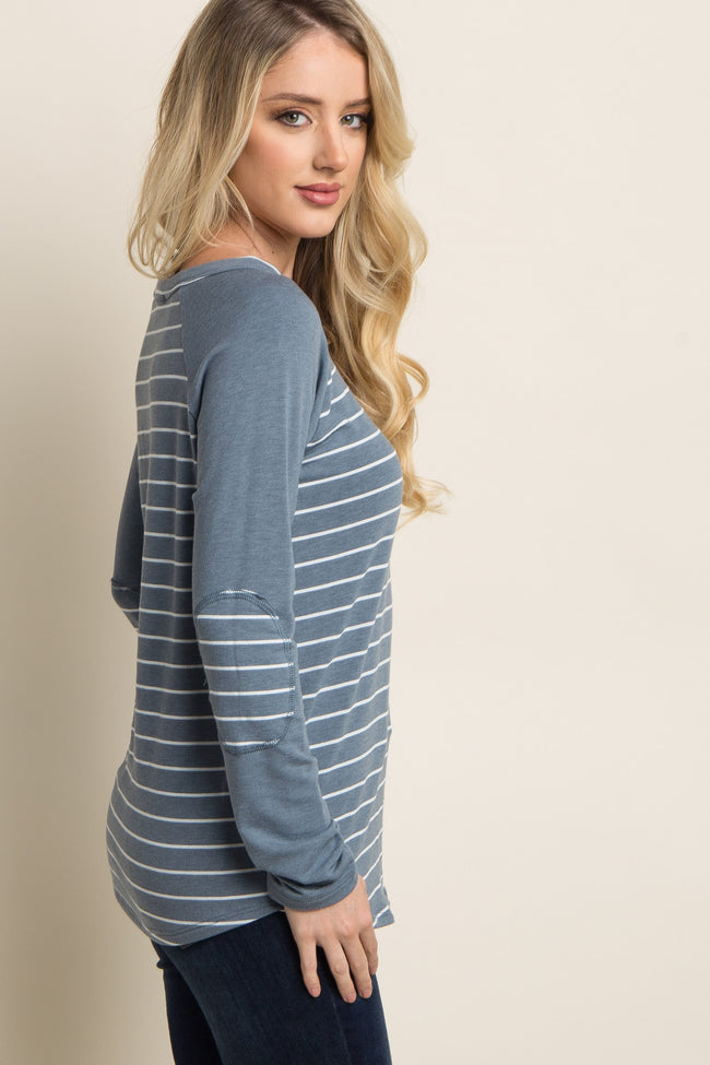 Blue Striped Colorblock Elbow Patch Top