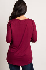 Burgundy Keyhole Cutout Top