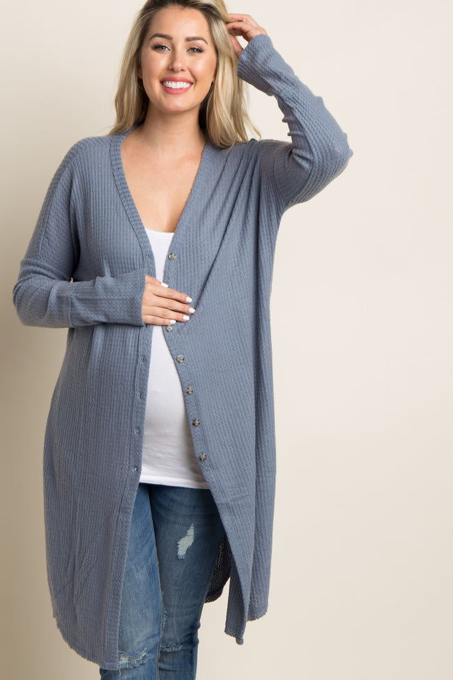 Blue Soft Knit Button Front Maternity Cardigan