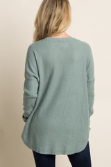 Green Soft Knit Pocket Front Sweater