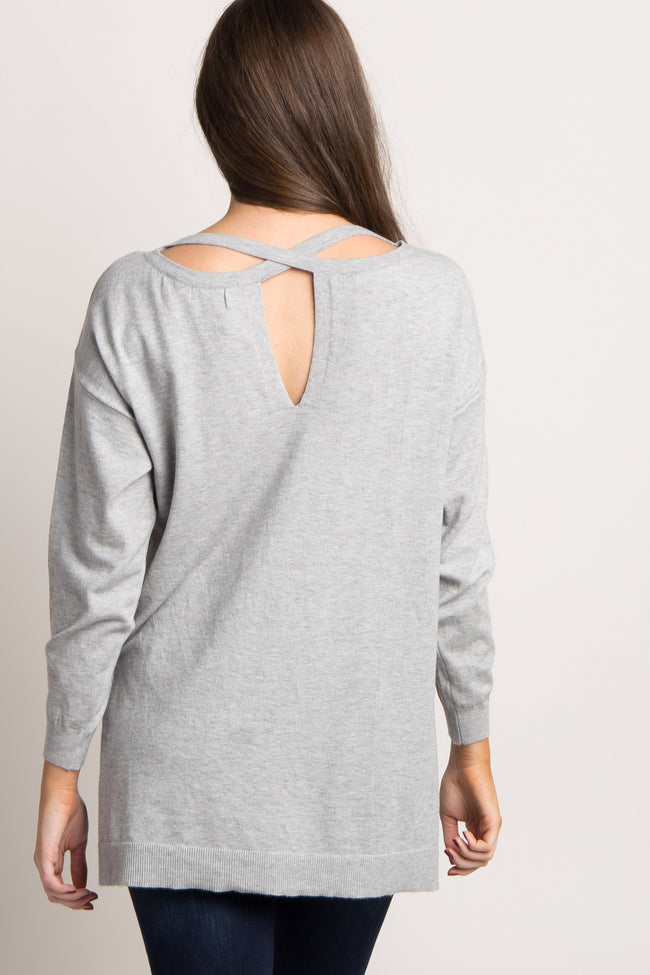 Heather Grey Cutout Cross Back Knit Top