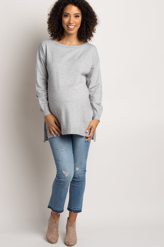 Heather Grey Cutout Cross Back Knit Maternity Top