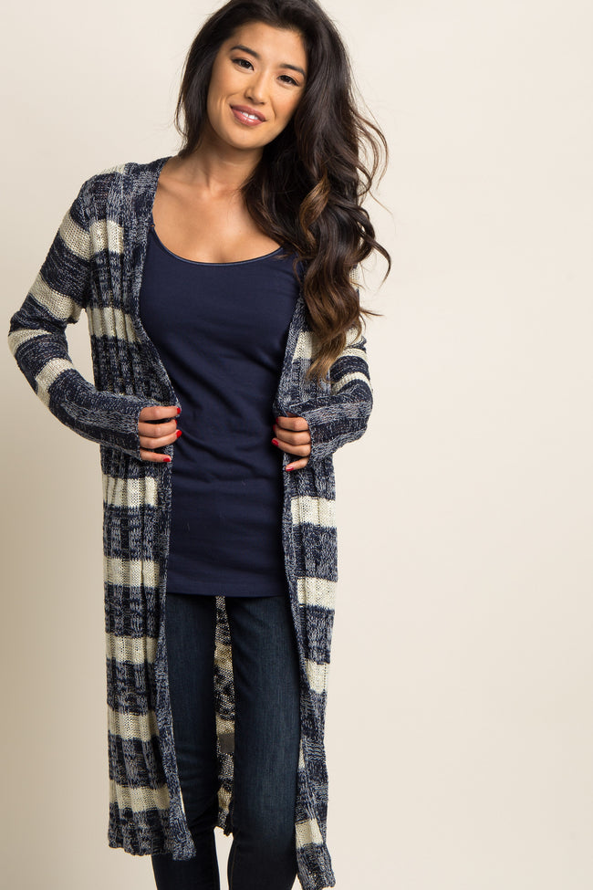 Navy Blue Striped Long Cardigan