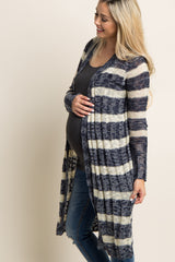 Navy Blue Striped Long Maternity Cardigan