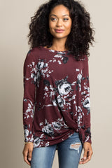 Burgundy Floral Knot Hem Maternity Top