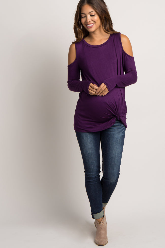 Purple Cold Shoulder Maternity Knot Top