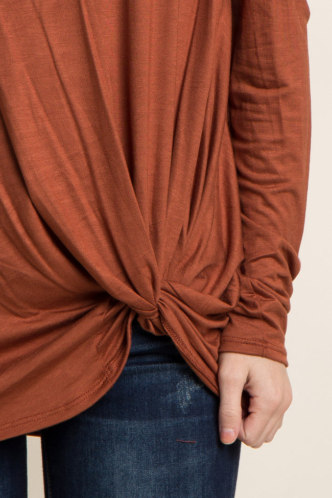 Rust Cold Shoulder Knot Top