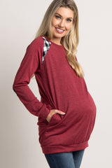 Burgundy Plaid Accent Maternity Sweater