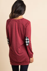 Burgundy Plaid Accent Sweater