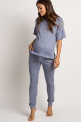 Navy Blue Heathered Maternity Pajama Set