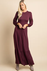 Burgundy Solid Crochet Accent Maxi Dress
