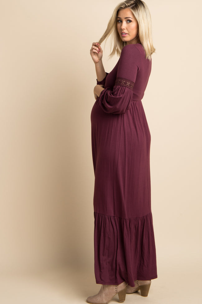 Burgundy Solid Crochet Accent Maternity Maxi Dress