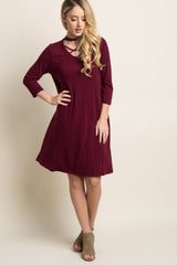 Burgundy Cutout Cross Front Dress
