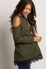 Olive Cold Shoulder Lace Trim Maternity Top