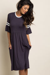 Charcoal Grey Colorblock Ruffle Sleeve Dress