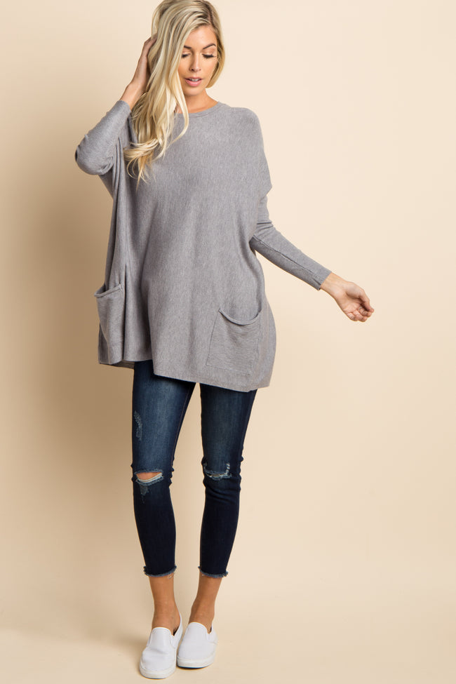 Heather Grey Pocketed Dolman Sleeve Maternity Top