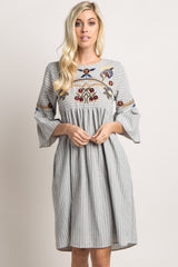 Grey Striped Floral Embroidered Dress